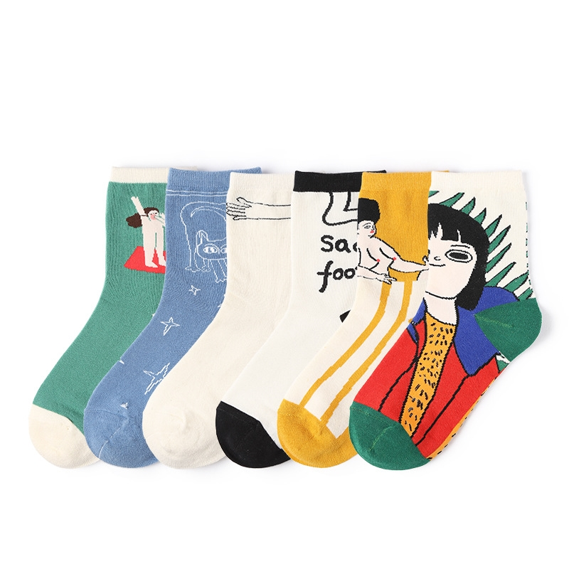 Women Socks Autumn New Fashion Casual Print Cotton Color Cute Women Fashion Lady Long Happy Socks 1 Pair