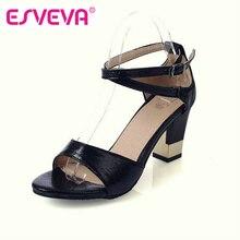 ESVEVAแฟชั่นสไตล์ตารางผู้หญิงส้นสูงสายรัดข้อเท้าปั๊มอารมณ์สุภาพสตรีรองเท้าแตะ