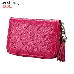 Leeshang porte carte femme fantaisie rfid wallet genuine leather card holder women zip travel card protector.jpg 250x250