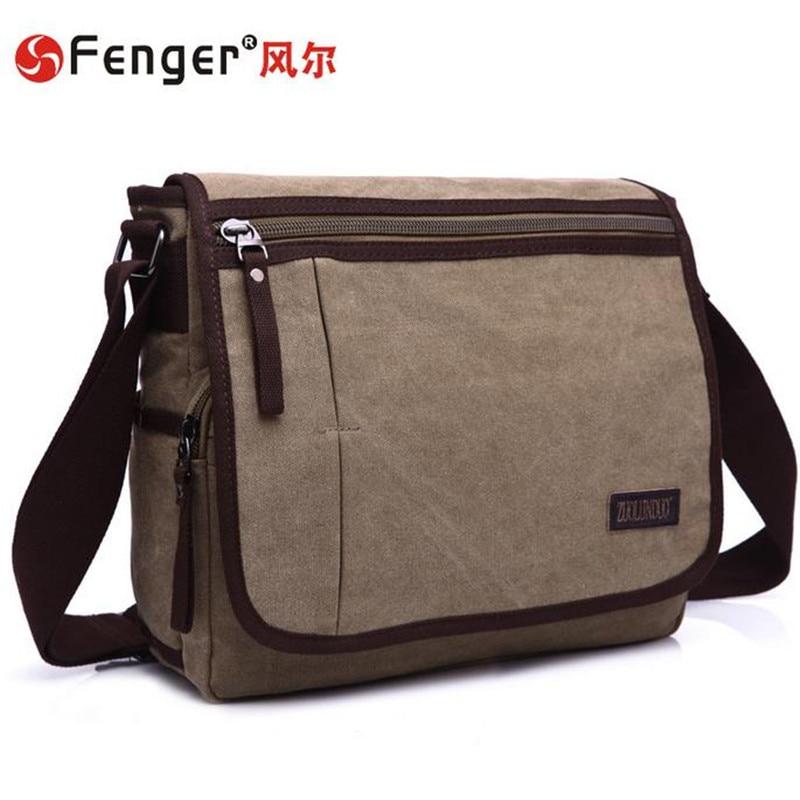 ФОТО  wearable canvas bag men's casual Single Shoulder Bag Trend Mens Business Travel Messenger Male handbags