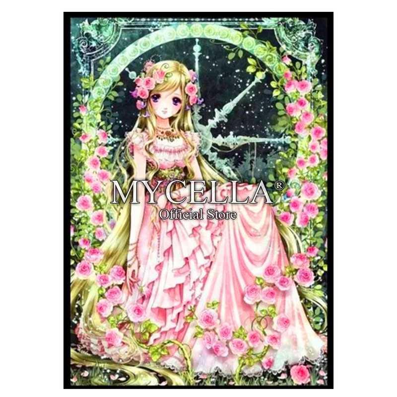 Набор для рисования с мультяшными бриллиантами, алмазное сверло для девочек, 5D DIY, розовая Цветочная фея, мозаика с бриллиантовой вышивкой, подарок аниме
