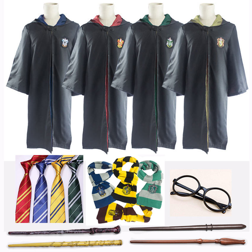 Harri Potter Robe Cloak Cape Suit Tie Scarf Wand Glasses Ravenclaw Gryffindor Hufflepuff Slytherin Cosplay Costumes Malfoy Suit