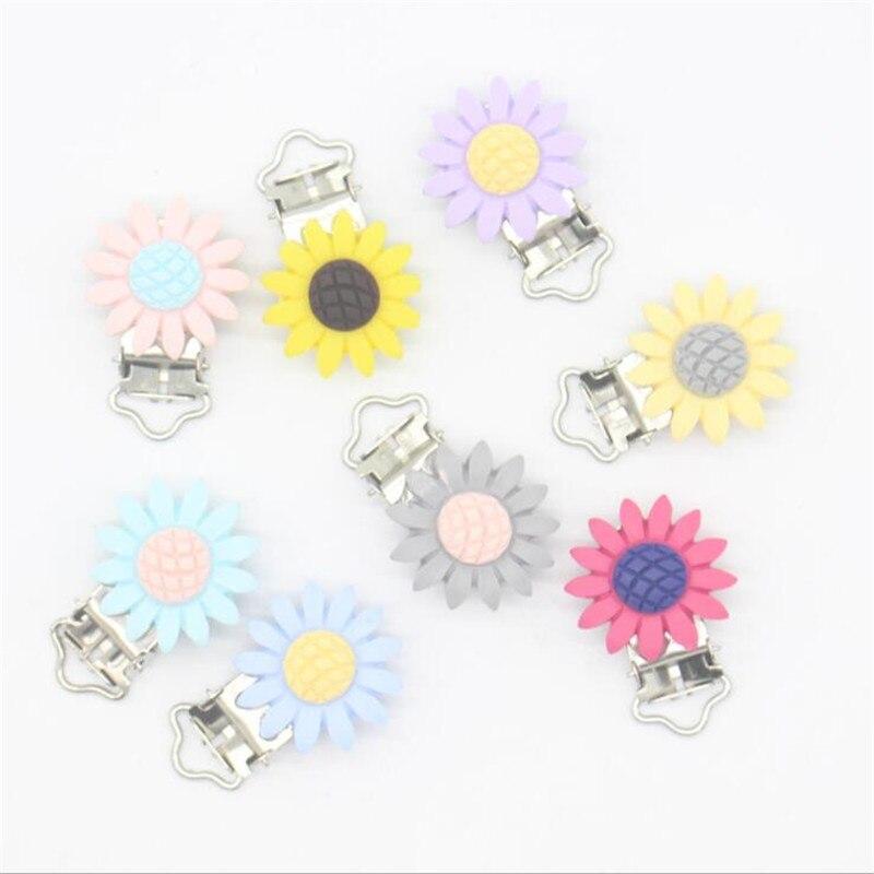 1 Paar Blume Schnuller Clip Metall Dummy Clips Zahnen Schnuller Halter Clip Baby Fütterung Zubehör Werkzeuge Baby Pflege
