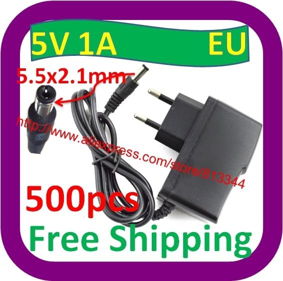 500 шт. AC 100-240 В адаптер конвертер 5 в 1A переключатель питания адаптер ЕС штекер DC 5,5 мм x 2,1 мм