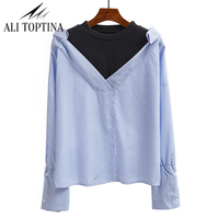 2017 Spring Clothes New Pattern Blue Stripe False Two Paper Shirt Woman Long Sleeve Easy Loose