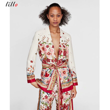 African womens unique print set 2019 spring suit two-piece new belt with printed casual blazer + wide-leg pants te