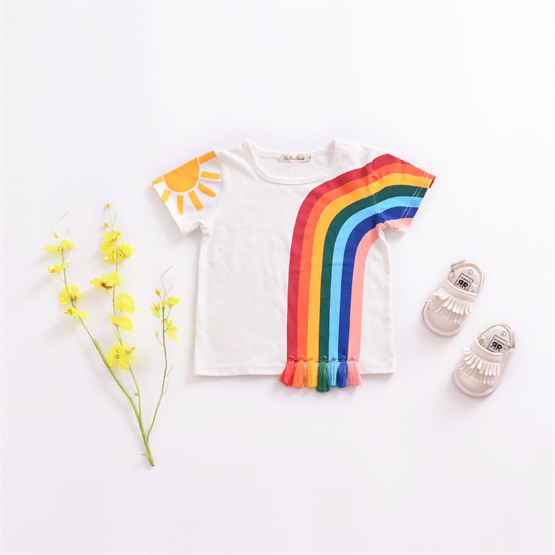 Baby girl Tops Children T shirts Rainbow tassel Fille Kids Summer T-shirt for Boys Clothes Cotton Clothing girls Tee Shirt