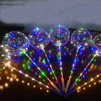 HUSUYUHU SISI 3M Bubble Balloon With Hand Shank Led Strip Copper Wire Luminous For Valentine's Day Wedding Decorations Birthday цена 2017