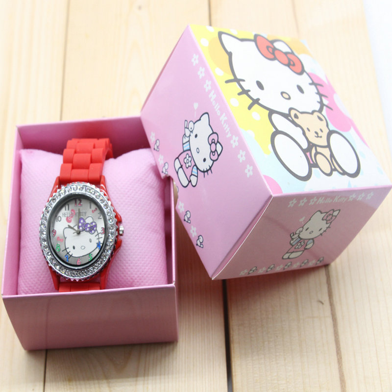 4dfedb13fcc ... Hello Kitty watches girl silicone cat child watches in box free  shipping watch with box 5 ...