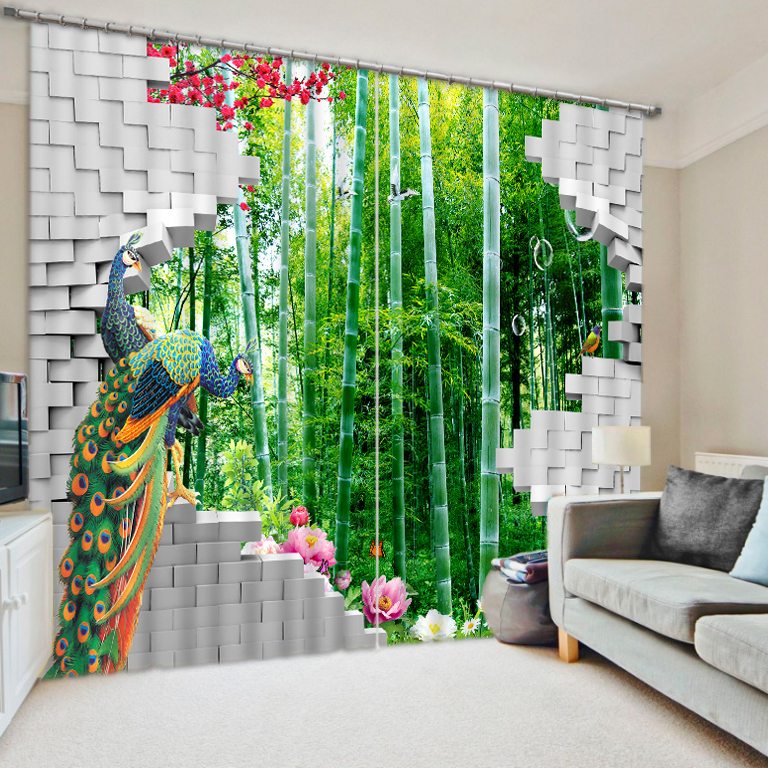European Curtains Painting Curtains For Children peacock bamboo Curtains 3D Sheer Curtains For Living room Home