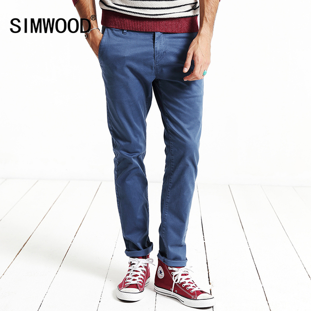 SIMWOOD 2017 New Spring  Casual Pants Men Length  Fashion  Trousers Small  Plaid Pattern KX5538