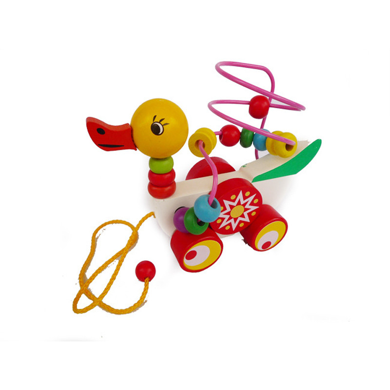 Educational duckling trailer toy mini around beads learning game multicolour children kids puzzle baby infant wooden Toys 5