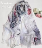 Pashiminas feminino White 100% silk lencos femininos para pescoco genuine Chinese wind super summer air conditioning Scarf Shawl