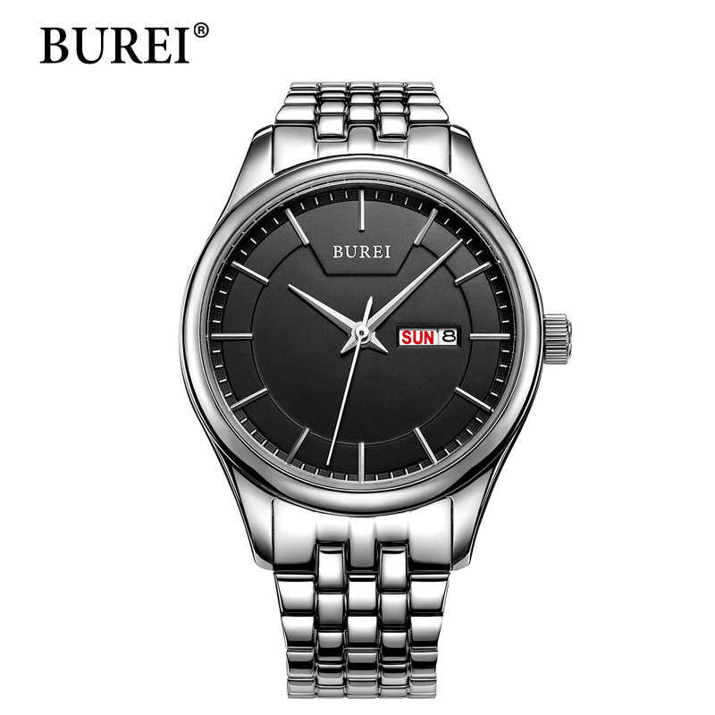 2016 Limited New Arrival BUREI Women's Day And Date Calendar Precise Quartz Watch Wristwatch With Stainless Steel Bracelet
