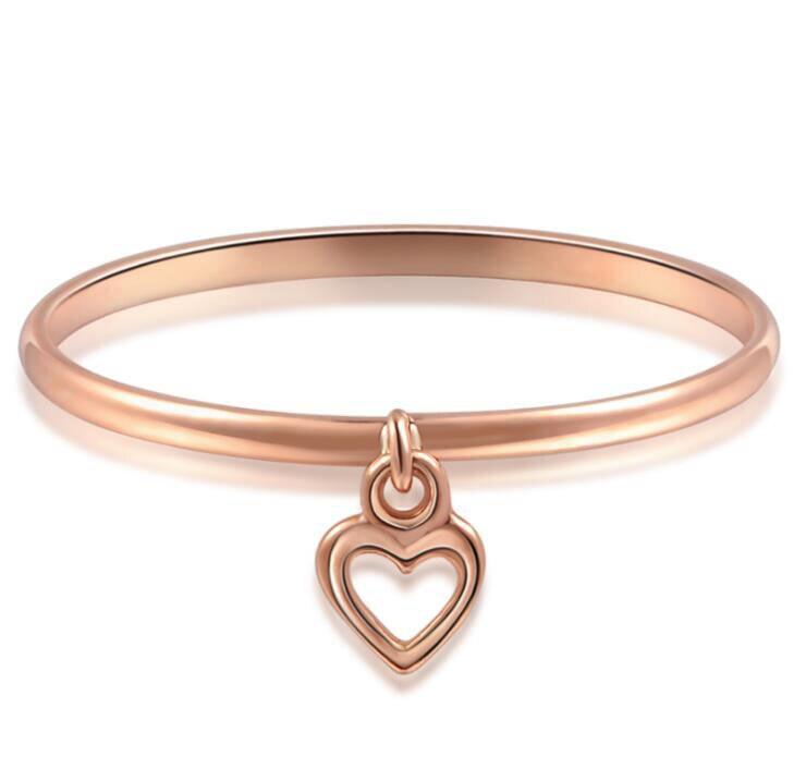 Bague en or Rose pur lisse avec anneau coeur 1 pièces