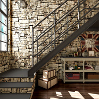 PAYSOTA Modern Chinese 3D Brick Culture Stone PVC Wallpaper Vintage Nostalgic Bar Club Wall Paper Roll