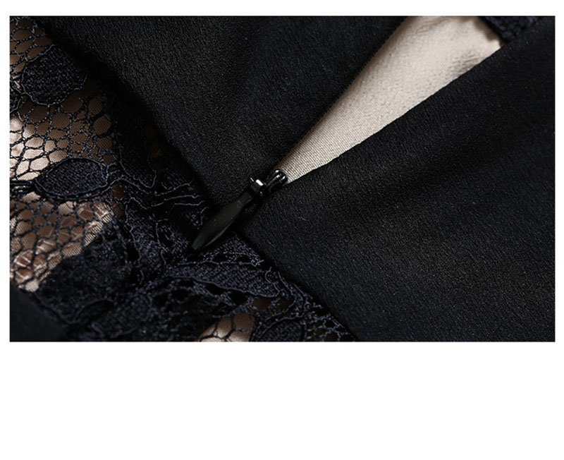 Elegant Black See-through Eyelash Lace Maxi Dress