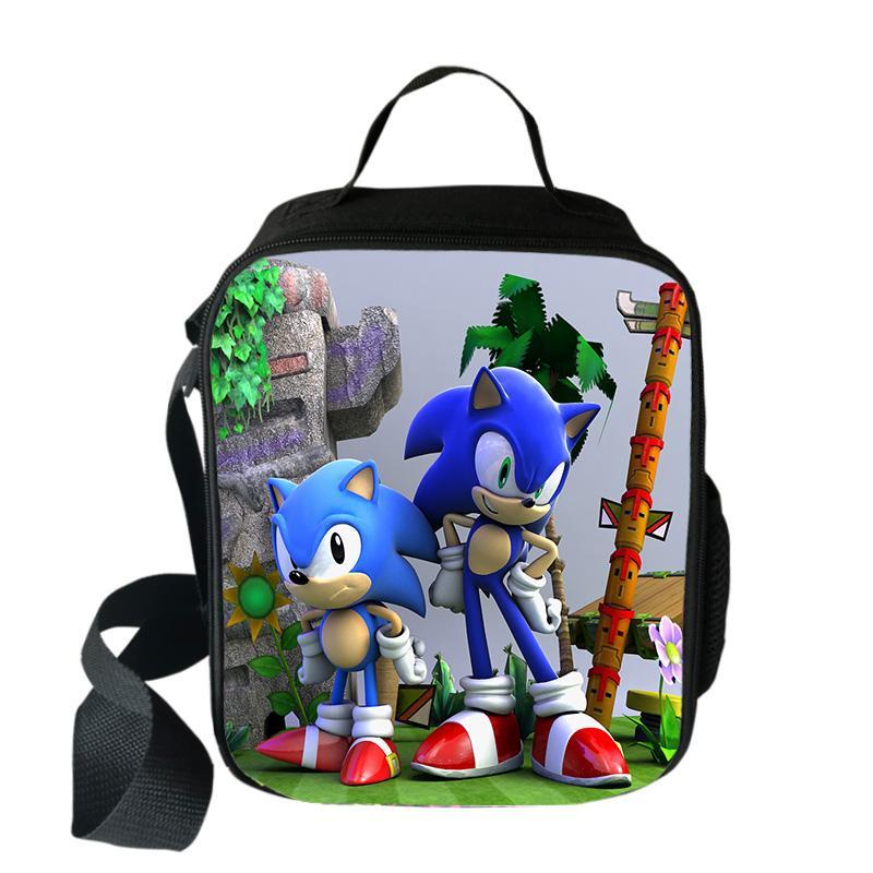 Cartoon Mario Bros Sonic Boom Hedgehogs Lunch Bag Picnic Travel Food Storage Bag Children Boy Girl Bento Bag Messenger Bag
