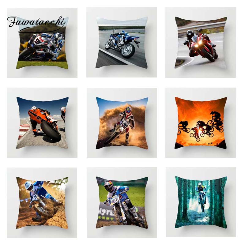 Fuwatacchi Motocross Scenic Cushion Cover Motorcycle High Way Square Throw Pillow Cover Decorative Sofa Pillow Case Pillowcase