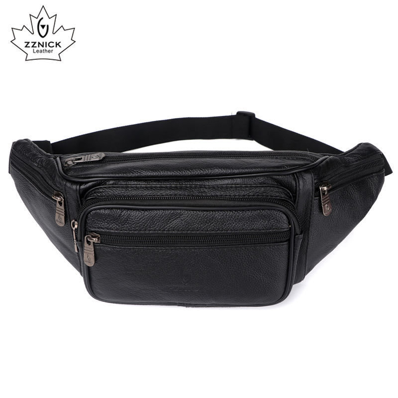 Genuine Leather Waist Bag men Waist Pack Waist Bag Funny Pack Belt Bag Men Chain Waist Bag For Phone Pouch Bolso ZZNICK dancer feather faux pearl waist belt chain
