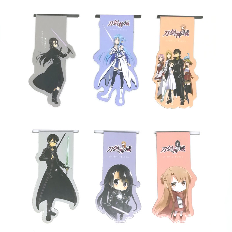 6pcs Sword Art Online SAO Anime Magnetic Bookmark Cartoon Magnet Bookmark Child Student Kawaii Gift Bookmarks Office Stationery