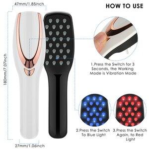 Image 3 - 3 IN 1 USB נטענת לייזר צמיחת שיער אינפרא אדום חשמלי עיסוי אנטי שיער אובדן פוטותרפיה קרקפת לעיסוי מסרק LED אור