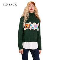 ELF SACK High Collar Women Winter Sweater Yarn Embroidery Womens Short Knitted Sweaters Fox Pattern Manual