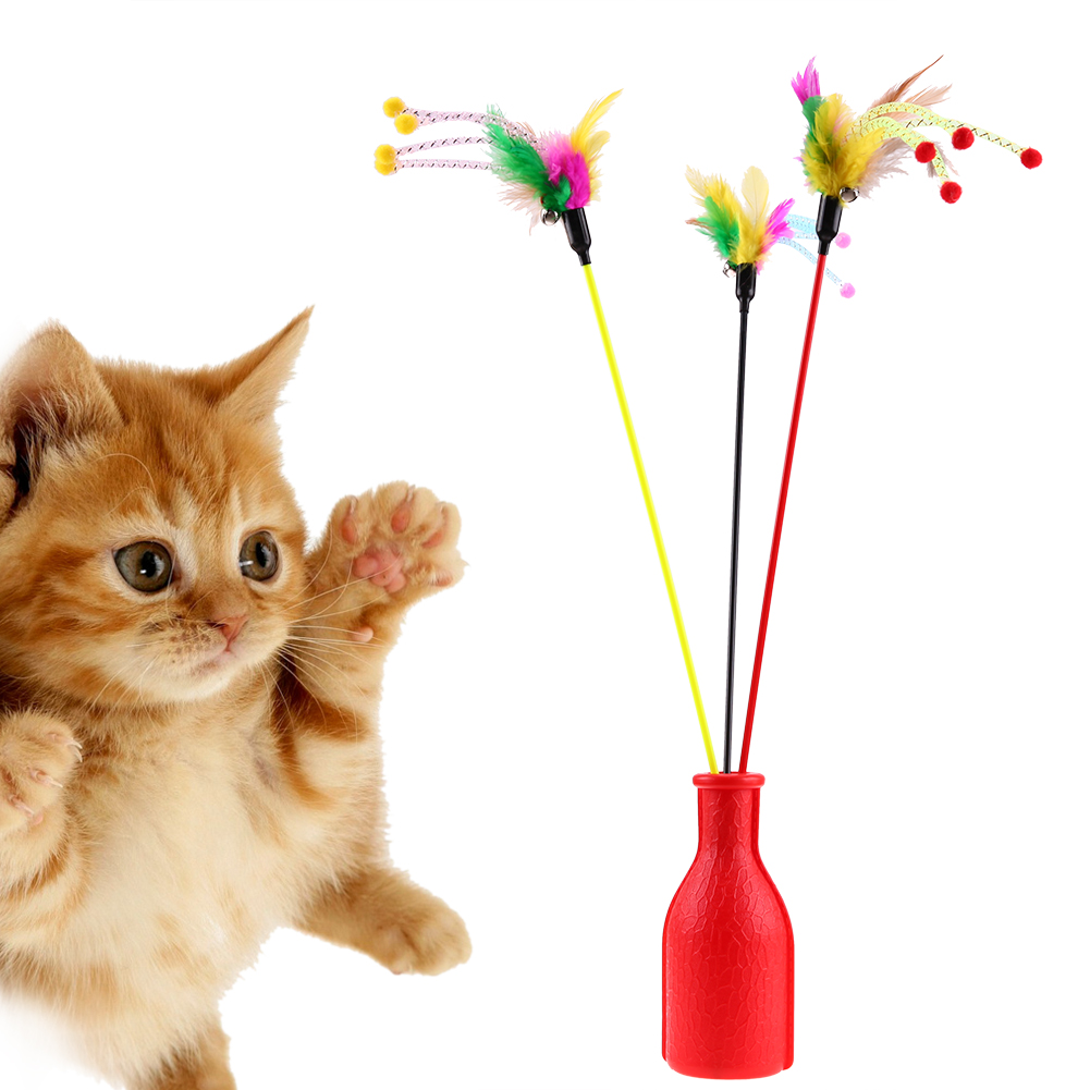 Pet Products Cat Supplies Lovely Cute Funny Colorful Rod Teaser Wand Plastic Pet Toys For Cats Interactive Stick Cat Love Heart Shape Cat Toys