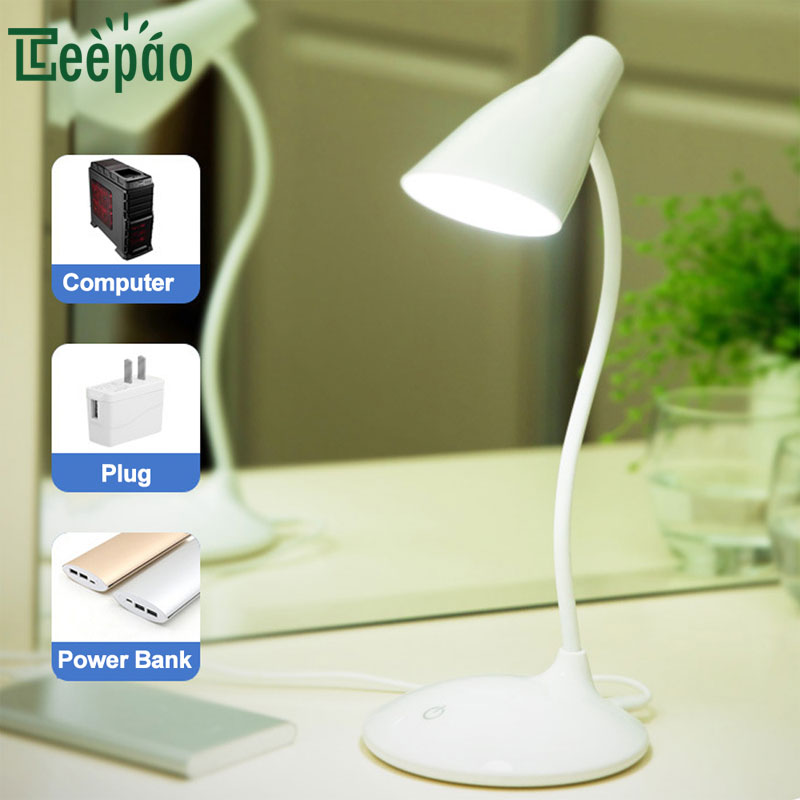 Eye Protect LED Table Lamp Study Desk Lamp Usb Powered Desk Lamp Dimmable Bendable USB Reading Light Touch Switch Sensor Control usb rechargeable foldable touch dimming desk lamp 42 led 3 brightness adjustable eye protect ultra thin reading study lamp