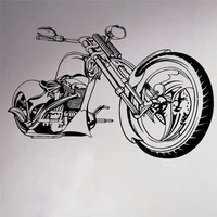 Motorcycle Chopper Wall Vinyl Sticker Motorbike Room Decor Decal Garage Sport Club Home Interior Bedroom Murals Removable