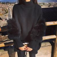 Knitted Women Oversized Fur Sweater Winter Truien Dames Fluffy Sweater Tunic Turtleneck Pull Femme Manche Longue