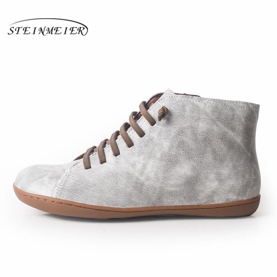 Женские зимние ботинки из натуральной овечьей кожи, повседневные ботильоны, удобные качественные мягкие туфли ручной работы на плоской под...