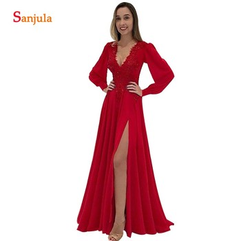 Dark Red Bride's Mother Dress Long Sleeves V-neck Side Slit Party Gowns Women Sexy Backless Wedding Guest Dress Appliques MY09