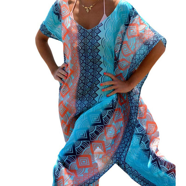 Women's Turquoise Wave Beach Cover-Up 3