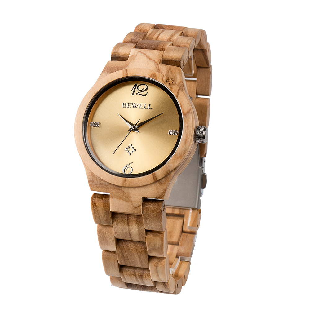 цена на BEWELL ZS-W153A Wood Women Watch Fashion Quartz Women Watches Ladies Watches Casual Analog Clock Wrist Watch relogio feminino