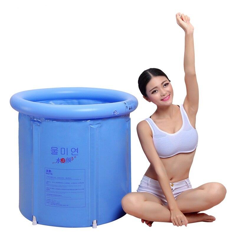 Eau beauté bleu clair baignoire pliante baignoire baignoire gonflable baignoire en plastique épais baignoire adulte baignoire - 5