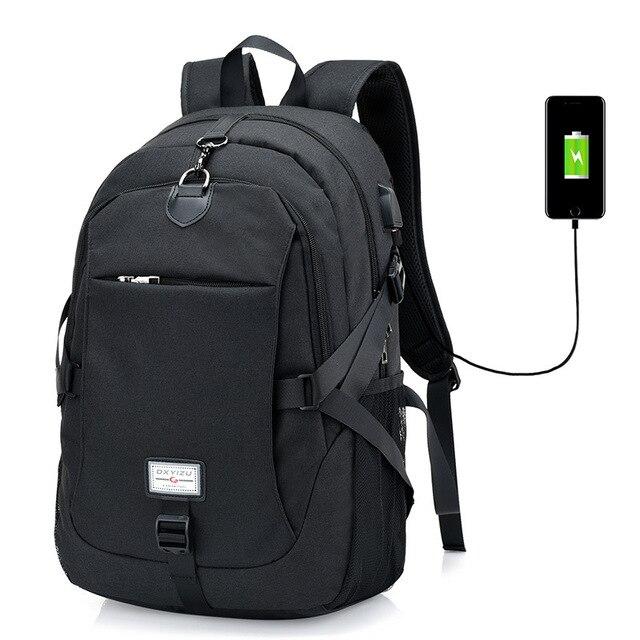 20548073a63d US $18.64 46% OFF|Multifunction Male 15 Inch Laptop Backpack External USB  Charge Backpack men women School Bags Mochila Escolar Rucksack-in Backpacks  ...