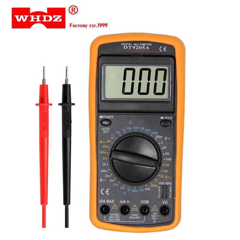 WHDZ DT9205A Multímetro Digital Profissional Handheld Elétrica Voltímetro Amperímetro Resistência Capacitância hFE Tester AC DC LCD