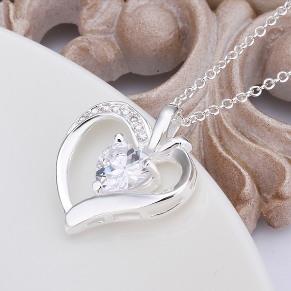 925 sterling silver jewelry fine fashion peach heart with white crystal stone pendant necklace for women girls wedding jewerly