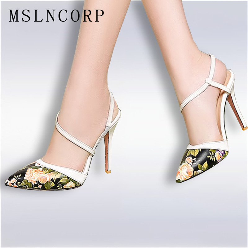 Plus Size 34-48 Summer High Heels Sandals Dress Pointed Toe Bandage lady Pumps sexy Women Printing Leather party Wedding shoes plus size 34 48 genuine leather high quality sexy women pumps pointed toe shoes thin high heels wedding shoes party dress shoes