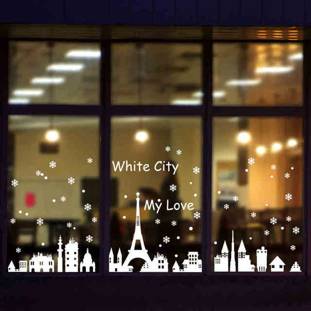 Merry christmas snow city windows sticker for sharon or restaurant decoration tools wall sticker in holiday