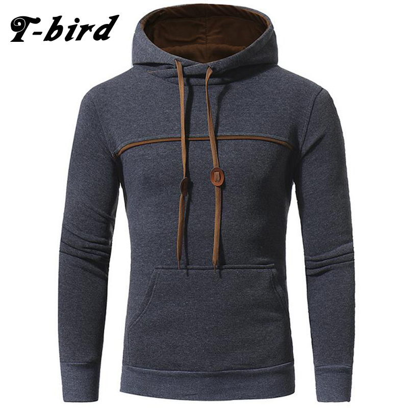 T-Bird Brand Pendant Decoration Men Sweatshirt Hoodeds Tops 2017 Autumn Winter Slim Hoody Pullover Mens Warm Hooded Jacket M-3XL
