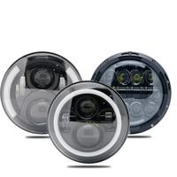 7 Inch 60W 6000K Amber LED Headlights Round Motorcycle Headlight DRL Headlamp for motor Softail Slim Fat Boy Yamaha