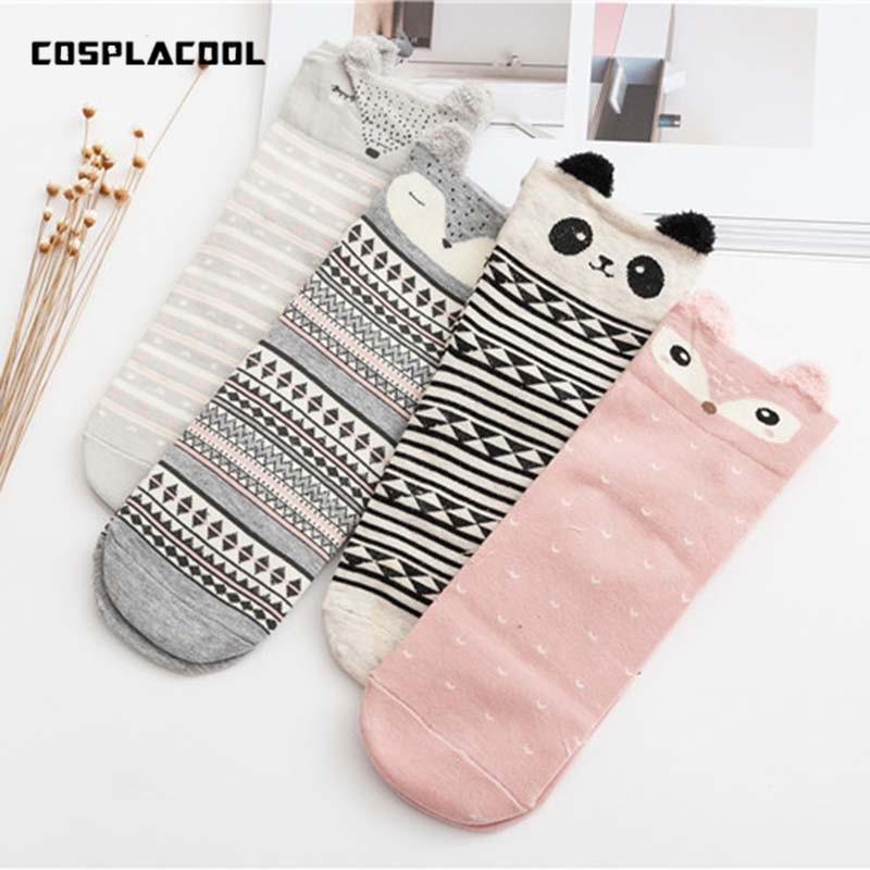 [COSPLACOOL]Fashion Cute Panda/Rabbit Stereo Ear Cartoon Cotton   Socks   Women Creative Animals Cat Character Funny Kawaii Meias