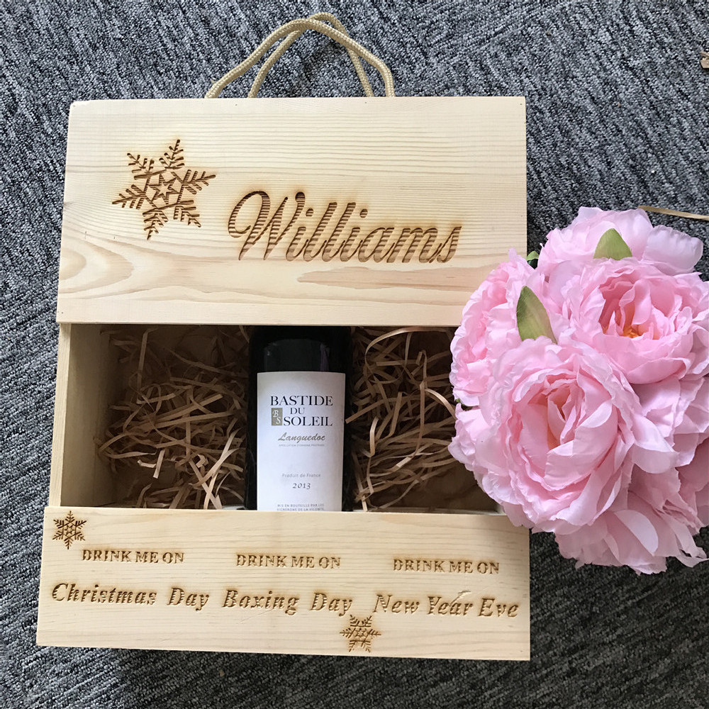 Personalised Wooden Wine Box Christmas Gift For Him Her