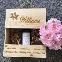 Personalised wooden wine box Christmas gift for him & her holds 3 bottles for bride and groom wedding favor