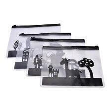 Милый кавайный черный прозрачный ПВХ на молнии файл сумки файл Органайзер мультфильм животных сумка для хранения ручек корейские канцелярские принадлежности
