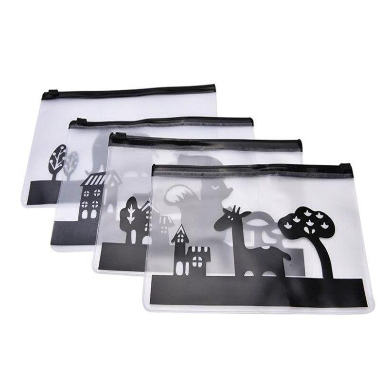 New Cute Kawaii Black Transparent PVC Zipper File Bags File Organizer Cartoon Animals Pen Storage Bag Korean Stationery Supplies