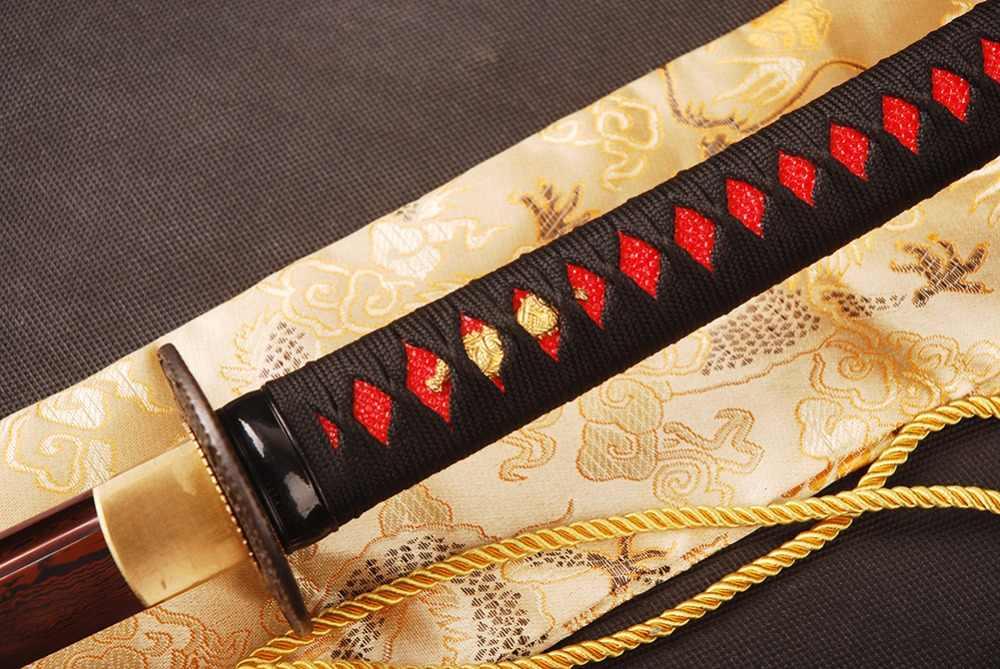 SHI JIAN czerwony japoński samuraj miecz Katana damaszek ze stali giętej ostrze do cięcia praktyki ostry miecz Full Tang Iaido data data powrotu (Espada