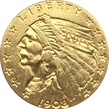 24-K позолоченная 1908$5 Золотая индийская половина монета с изображением орла КОПИЯ